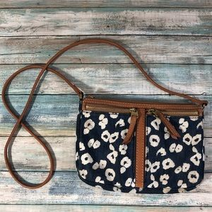 Fossil Brown Leather Print Fabric Crossbody Bag